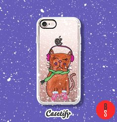 Casetify iPhone 7 Case and Other iPhone Covers - Christmas Winter Cat Hand Painted Watercolor Cute Illustration by designer BlackStrawberry | #Casetify