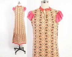 Vintage 20s Cotton DRESS / 1920s Geometric Print Cotton Day