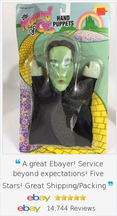 Wizard of Oz fans will appreciate adding these 1988 hand puppets to their collection! Green Wicked Witch issued by Turner in 1988 for their 50th Anniversary of the Wizard of Oz movie release. One of several styles we are offering.