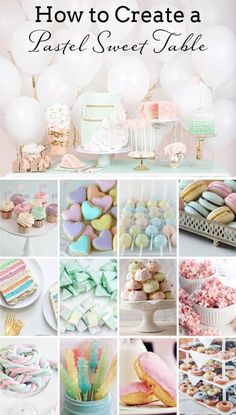 Planning a pastel theme wedding? A multicolor pastel dessert display is a great way to add a touch of whimsy and delight to your reception! Dessert Table Birthday, Birthday Party Desserts, Dessert Party, Unicorn Birthday Parties, First Birthday Parties, Birthday Party Decorations, Pastel Party Decorations, Dessert Tables, Birthday Ideas