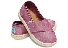 NEW Toms Magenta Glimmers available in tiny and youth sizes at Red E Surf