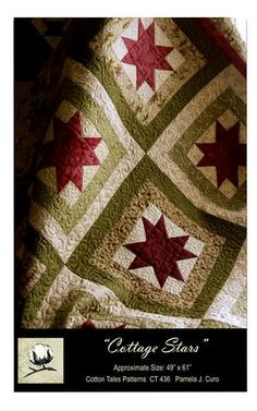 Cottage Stars Log Cabin and Star Quilt Pattern Cotton Tales Pattern