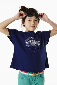 Lacoste Girl's Short Sleeve Star Croc Graphic T-shirt : Girls