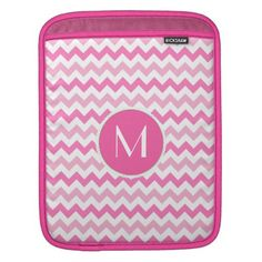 Pink Chevron & Monogram iPad Sleeve