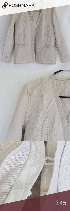 Elie Tahari for Bergdorf Goodman Blazer (Sz S) Elie Tahari for Bergdorf Goodman Blazer (Sz S) Cream-colored blazer with all-over stitching accents and hook-and-eye closure. Some softening and wear from minimal use. Cotton/silk blend. Dry clean only. Elie Tahari Jackets & Coats Blazers