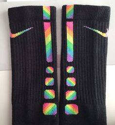 Custom ZIG ZAG Rainbow Nike Elite Socks Sz Large by ParsonsPlace4