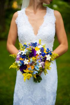 A Beautiful Handmade & Sweetly Sentimental Blue, Purple & Yellow Wedding at The Mill at Fine Creek