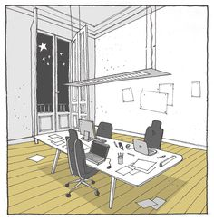 42 Sketches, Drawings and Diagrams of Desks and Architecture Workspaces,Submitted by Jorge Puente