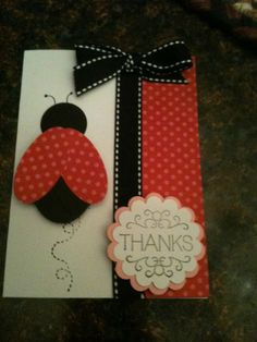 Stampin Up Scallop Circle Punch Ladybug Card Kit Thank You Melon Mambo Tagtastic | eBay