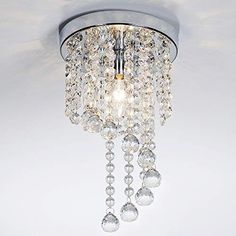 Modern Living Room Dining Room Bedroom Small Flush Mount Ceiling Light Fixture,Mini Style 1 Light Crystal Chandelier with Chrome Finish Chandelier Bedroom, Bedroom Lighting, Chandelier Lighting, Ceiling Light Fixtures, Ceiling Lights, Ceiling Ideas, Flush Mount Ceiling, Chrome Finish, Bulb