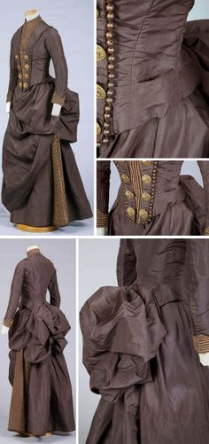 Dark brown silk wedding dress, 1887. Bodice has shawl collar trimmed with wooden beads and 8 large gold metal decorative buttons. High rust- beige-striped velvet collar and dickie front. Tight-fitting 2-piece sleeves with velvet-striped cuff. Lined with twill; attached stays. Back peplum over bustle. Skirt has six gores, one of striped velvet with wood bead trim. Draped with 3 sections of brown silk. Goldstein Museum of Design, Univ. of Minn.
