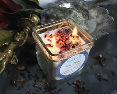 soy wax candle with sandalwood, bergamott, rosewood, crystals, love magic candle, love candle, crystal candle, big size Magic Spell Book, Spell Books, Soy Wax Candles, Candle Jars, Wiccan Spells, Magic Spells, Candle Magic, Kitchen Witch, Crystals