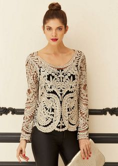 Juliette Crochet Blouse - Holiday Looks  - Alloy Apparel - Wanted to order this but it won't be available til February!  :(