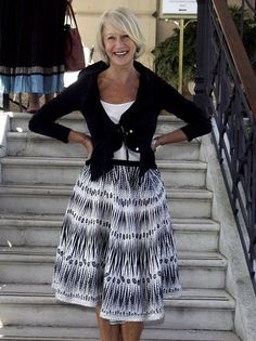 Helen Mirren at the Venice Film Festival 2006. Celebrities with natural grey hair.  Showing that grey hair is beautiful.