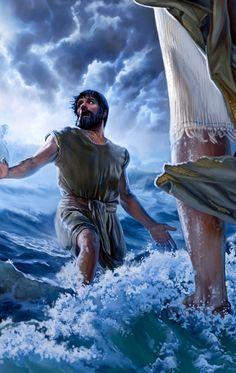 Pierre se laisse distraire alors qu'il marche sur l'eau vers Jésus; pris de crainte et de doutes, il commence à couler
