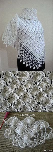 """Szaliki,apaszki. na Stylowi.pl [ """"Shawl & Charm & crochet → ok this pin leads to another crochet board."""", """" Many Crochet Graphs with Photo Illustrations."""", """"Many shawl and cape designs here"""", """"Would make a lovely light weight baby blanket"""", """"Beautiful pattern for a shawl. Also shown with a fringe in the tutorial."""", """"Step by step photo instructions. Instructions are not in English."""", """"too bad the link doesn"""