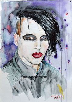 Portrait With Military Jacket - Marilyn Manson by Susanna Varis water color 2009