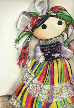 """ninjakoolaid: """" Mexican Doll by Myrinihanna """" Mexican Crafts, Mexican Folk Art, Mexican Style, Mexican Paintings, Doll Drawing, Mexico Art, Mexican Designs, Mexican Party, Wow Art"""