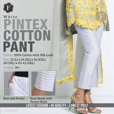 Trousers & Pants Trendy Cotton Women's Pant  *Fabric* Cotton  *Size* L - 32 in, XL - 34 in, XXL -36 in, 3XL - 38 in, 4XL - Up To 40 in To 42 in  *Length* Up To 36 in  *Type* Stitched  *Description* It Has 1 Piece Of Women's Pant  *Work* Beads Work  *Sizes Available* M, L, XL, XXL, XXXL, 4XL *    Catalog Name: Jivika Pretty Cotton Women's Pants CatalogID_129835 C79-SC1034 Code: 574-1063123-