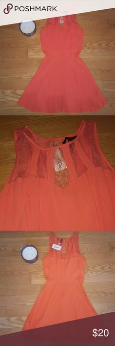 NWT Salmon fit and flare sundress Super pretty color, dress is sheer(ish) so nude under garments would be required! Beautiful details and never worn! Forever 21 Dresses Mini