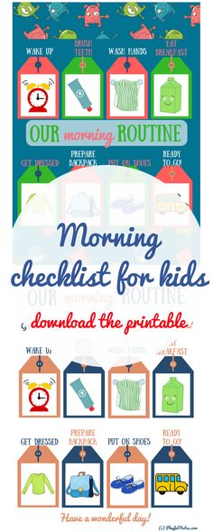 Morning routine for kids | Morning routine printable | Morning checklist for kids | Morning checklist printable