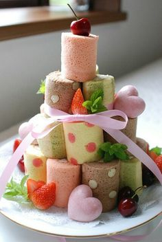 Roll cake tower