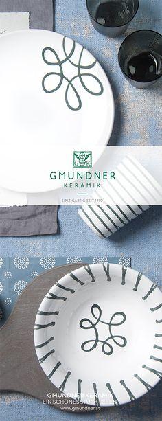 Gmundner Keramik  - Design Graugeflammt - Handbemaltes Geschirr - 100% aus Österreich Keramik Design, Plates, Pure Products, Grey, Tableware, Hand Painted Dishes, Handmade, Handarbeit, Licence Plates