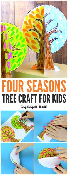 A four season tree craft for kids! This 3D craft is a great way to talk about seasons with children! Crafts For Children, Craft Kids, Kids Craft Projects, Fall Activities For Kids, Kids Crafts, Children Activities, 3d Craft, Tree Crafts, Crafts For Kids To Make
