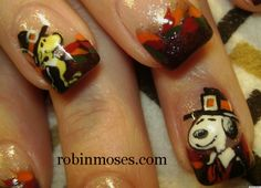 Thanksgiving Nail Art Starring Snoopy And Woodstock