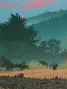 """""""Kissed By The Sun"""" 6-color reduction linocut print by William H. Hays, 12"""" x 9"""""""
