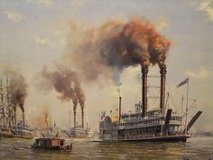 Old New Orleans 1870s by R Cross b 1924 oil on canvas by mharrsch, via Flickr