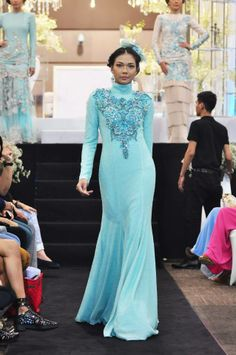 Hatta Dolmat in Malaysia - Blue Kebaya with beading features