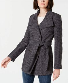 Calvin Klein Belted Textured Basketweave Peacoat - Gray S Dresses With Leggings, Leggings Are Not Pants, Pink Fashion, Womens Fashion, Fashion Edgy, Plus Size Activewear, Jeans Dress, Trendy Plus Size, Coats For Women