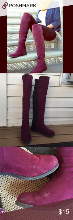 Purple Over The Knee Boots! I LOVE these boots, the purple is fun with many looks. They are comfy, I wore several times and there's a couple scuffs on (see picture). Sadly selling because I'm moving somewhere warm and won't need them :/ (also selling a pair in olive, see other listing) Unisa Shoes Over the Knee Boots