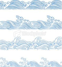 Japanese Embroidery Patterns seamless ocean wave Royalty Free Stock Vector Art Illustration - seamless ocean wave in different style Art And Illustration, Stock Illustrations, Doodle Drawings, Doodle Art, Doodles, Wave Art, Zentangle Patterns, Zentangles, Embroidery Patterns