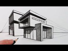 How to Draw a House in Two Point Perspective: Modern House - - How to Draw a House in Two Point Perspective: Modern House Drawing Wie zeichnet man ein Haus in einer Zwei-Punkte-Perspektive: Modernes Haus 2 Point Perspective Drawing, Perspective Art, Two Point Perspective City, Architecture Drawing Sketchbooks, Architecture Concept Drawings, House Architecture, Building Drawing, Building Sketch, House Sketch