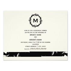 Simple Wedding Rehearsal Dinner Vintage Inspired Monogram Rehearsal Dinner - Black Card