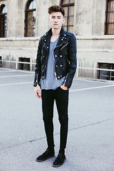 Christoph Schaller - Burberry Biker Jacket, Acne Studios Tee, Acne Studios Jeans, Zara Shoes - DO YOU WANT IT ALL?