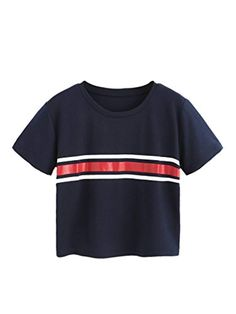 Spirio Women Crop Top Short Sleeve Color Block Striped Two Piece Outfit Set