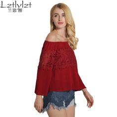women blouse lace shirt slash neck blusas womens blouses long sleeve renda tops off shoulder blouse sexy shirts feminina