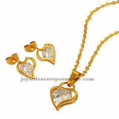 stainless steel heart design gold jewelry sets with crystal for women-SSNEG581709