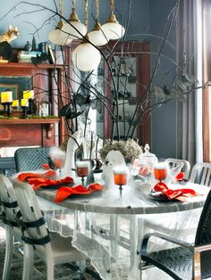 20+ Hip Halloween Decorating Ideas >> http://www.hgtv.com/design/make-and-celebrate/handmade/20-hip-halloween-decorating-ideas-pictures?soc=pinterest