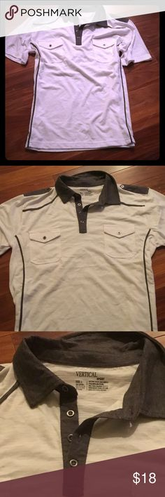New men's sz L vertical white polo w/gray piping New no tags white polo style top - front pockets and gray side piping - sz large vertical Shirts Polos