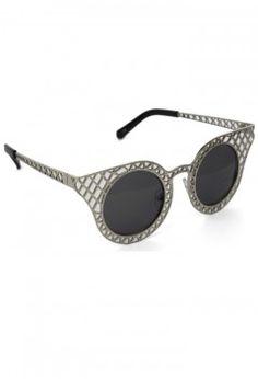 b181a70c85d7 Cut Out Metal Frame Cat Eye Sunglasses