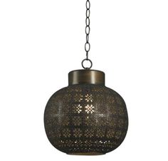 Tangier 1 light aged bronze mini pendant. Tangier lights its delicate details from within. A punched metal floral pattern on a tile textured sphere, gives Tangier a hand-tooled, rustic Spanish lantern