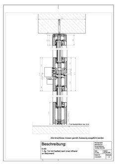 C-02-0001 EI 60, 1.-flg. Tür mit Festfeld nach innen öffnend an Betonwand