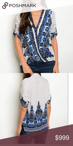 |NEW| Boho Blouse A boho style blue and white blouse with draping on the front! Gorgeous pearl and stone detail on the front. If you would like a separate bundle listing just let me know and I will gladly set up one for you! ❣ Boutique Tops Blouses