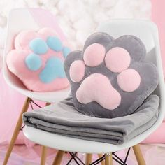 Cute kawaii cat paw pillow + blanket SE11003 Use coupon code #Cutekawaii for 10% off #kitten #blanket #kitty #meow #neko #cats #pink #pastel #giftideas #gift #easter
