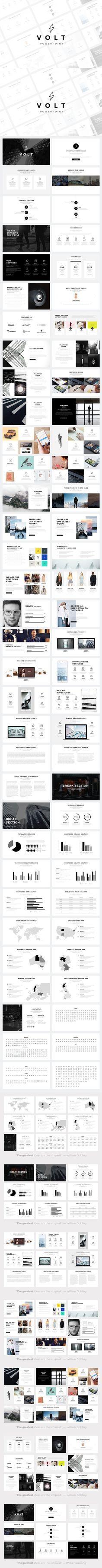 Volt Minimal PowerPoint Template. Graphic Design Infographics. $20.00