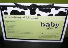 cutest cow print&green baby invite!